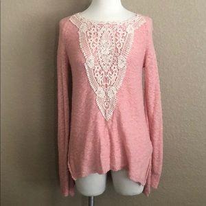 Light Pink Crochet Long Sleeve Sweater